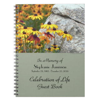 Celebration of Life Guest Book, Yellow Flowers Spiral Notebook