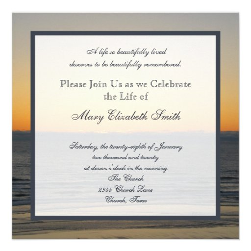 Celebration of Life Invitation Personalized Announcement