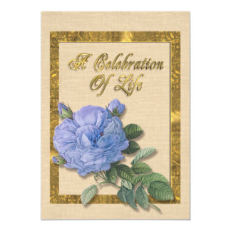 Celebration of life Invitation blue rose