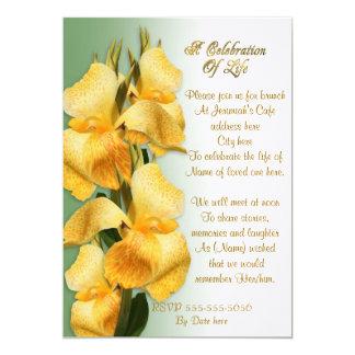 Celebration of life Invitation Canna lilies