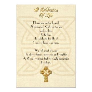 Celebration of life Invitation Celtic knot & cross