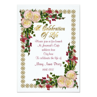 Celebration of life Invitation floral frame