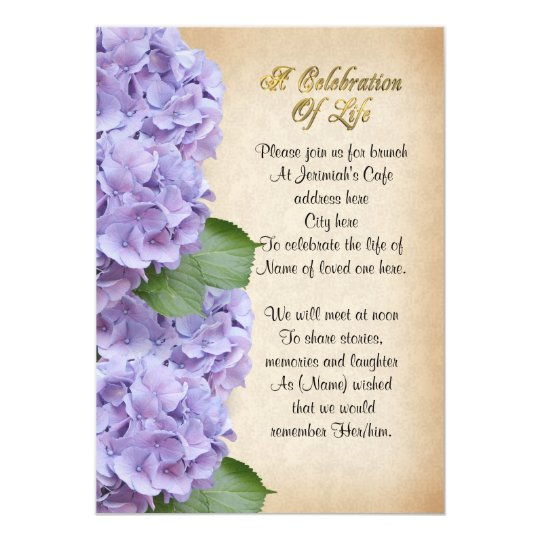 Celebration Of Life Invitation Hydrangea Zazzle Ca