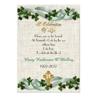 Celebration of life Invitation Irish Celtic cross
