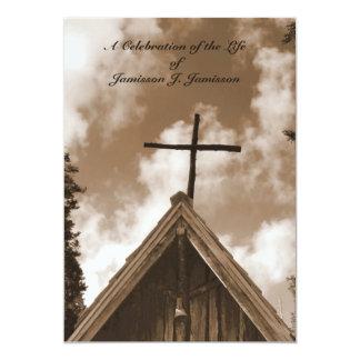 "Celebration of Life Invitation, Old Church, Sepia 5"" X 7"" Invitation Card"