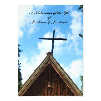 "Celebration of Life Invitation, Old Country Church 5"" X 7"" Invitation Card"
