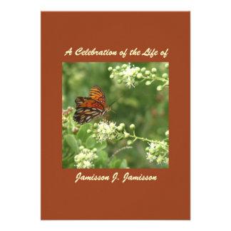 Celebration of Life Invitation, Orange Butterfly
