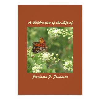 "Celebration of Life Invitation, Orange Butterfly 5"" X 7"" Invitation Card"