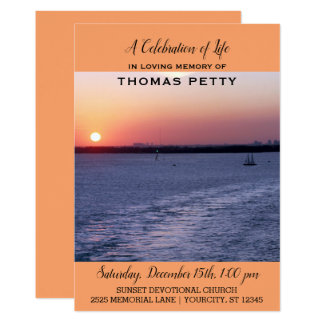 Celebration of Life Invitation Sailboat Sunset