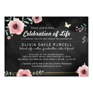 Celebration of Life Invite Pink & Black Floral