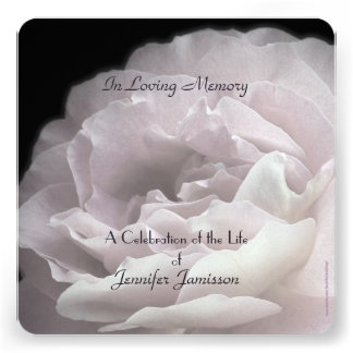 Celebration of Life Square Invite Pale Pink Rose Personalized Invitations