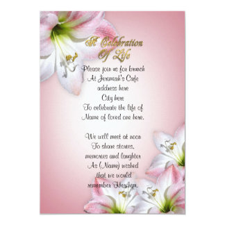 Celebration of life watercolor amaryllis card
