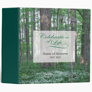 Celebration of Life with Forest Scene Guest Book 3 Ring Binder