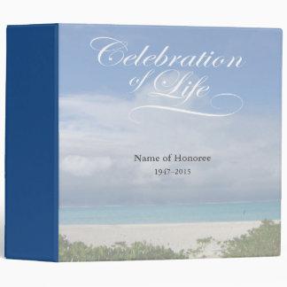 Celebration of Life with Ocean Scene Guest Book Vinyl Binders