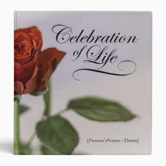 Celebration of Life with Rose Memorial Guest Book Binders
