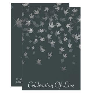 "Celebration of Live Vip Silver Leaves 3.5"" X 5"" Invitation Card"