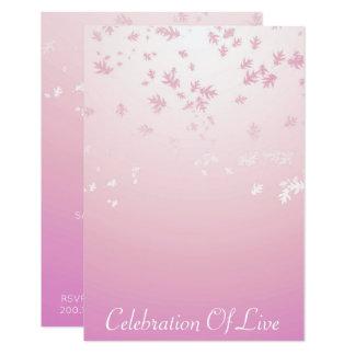 "Celebration of Live Vip Silver Pink 3.5"" X 5"" Invitation Card"