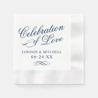 Celebration of Love | Navy Classic Elegance Disposable Napkin