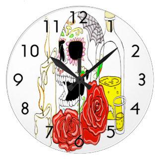 Celebration Of The Dead Sugar Skull Large Clock