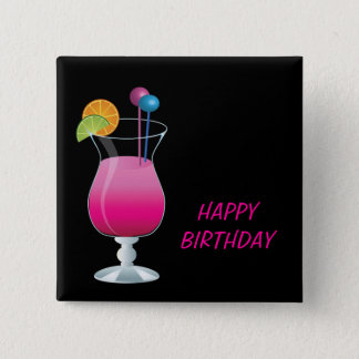 Celebration Pink Cocktail Happy Birthday 2 Inch Square Button