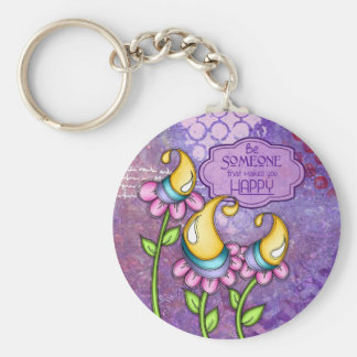Celebration Positive Thought Doodle Flower Keychai Keychain