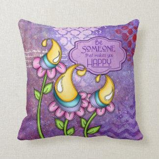 Celebration Positive Thought Doodle Flower Pillow