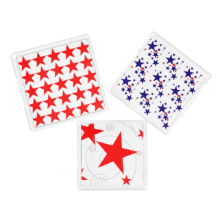 Celebration Red White Blue Stars Fun 4th of July Serving Tray