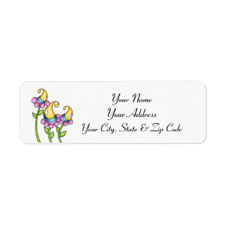 Celebration Watercolor Doodle Flower Address Label
