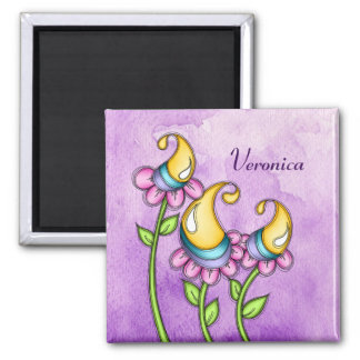 Celebration Watercolor Doodle Flower Magnet