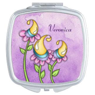 Celebration Watercolor Doodle Flower Mirror