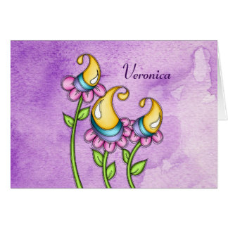 Celebration Watercolor Doodle Flower Note Card