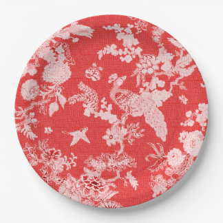 Celebrations-Everyday-Antique-Red-Birds--Floral 9 Inch Paper Plate