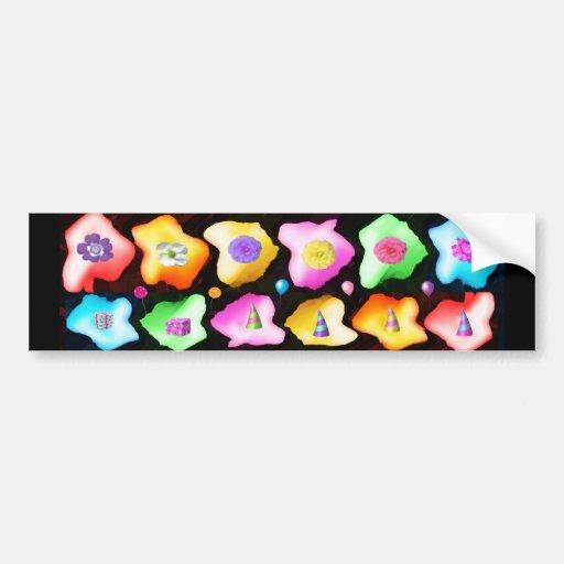 Celebrations: Floral Colorful Icebergs Bumper Sticker