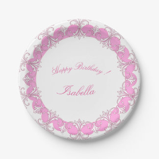 Celebrations_Monogram_French-Princess_Rose-Ornate Paper Plate