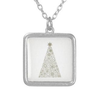 Celebratory tree silver plated necklace