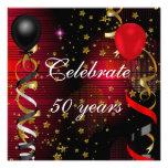 Célébrez 50 étoiles rouges du cinquantième noir de invitation personnalisable