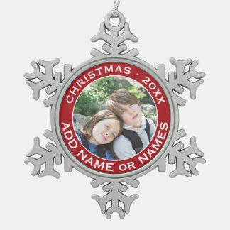 Célébrez Noël avec votre photo préférée Ornement Flocon De Neige Pewter