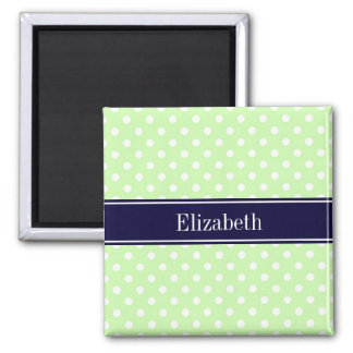 Celery and White Polka Dots Navy Name Monogram Square Magnet