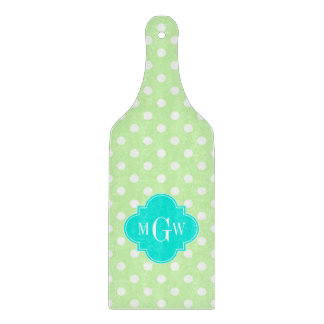 Celery Polka Dot Aqua Quatrefoil 3 Monogram Cutting Board