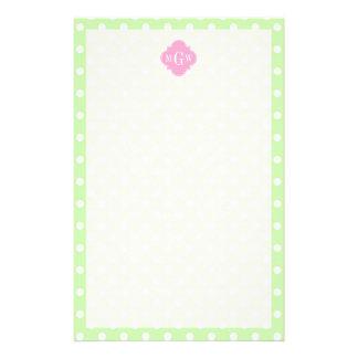 Celery Polka Dot Pink Quatrefoil 3 Monogram Custom Stationery