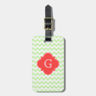 Celery White Chevron Coral Quatrefoil Monogram Luggage Tag