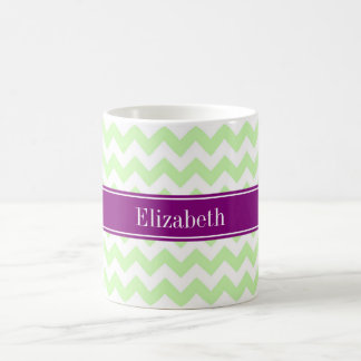 Celery White Chevron Purple Name Monogram Coffee Mug