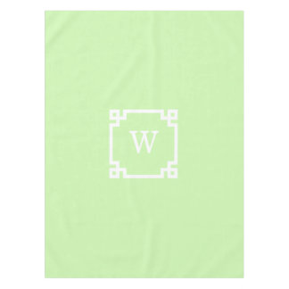 Celery White Greek Key Frame #2 Initial Monogram Tablecloth