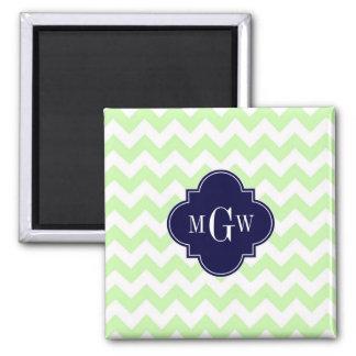 Celery Wht Chevron Navy Blue Quatrefoil 3 Monogram Square Magnet
