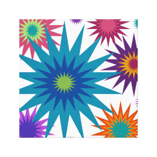 Celestial2 Aqua Blue Red Orange Retro Star Canvas Print