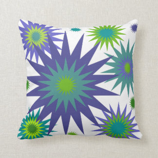 Celestial3 Purple Blue Green Star Throw Pillow