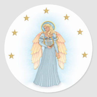 Celestial Angel Classic Round Sticker
