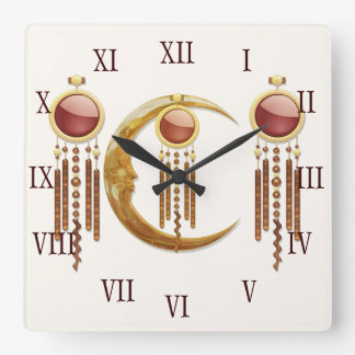 Celestial Elegance 3D New Age Square Wall Clock