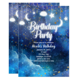 Celestial Fantasy Gold Stars & Glow Birthday Party Card