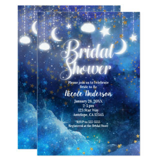 Celestial Fantasy Gold Stars & Glow Bridal Shower Card